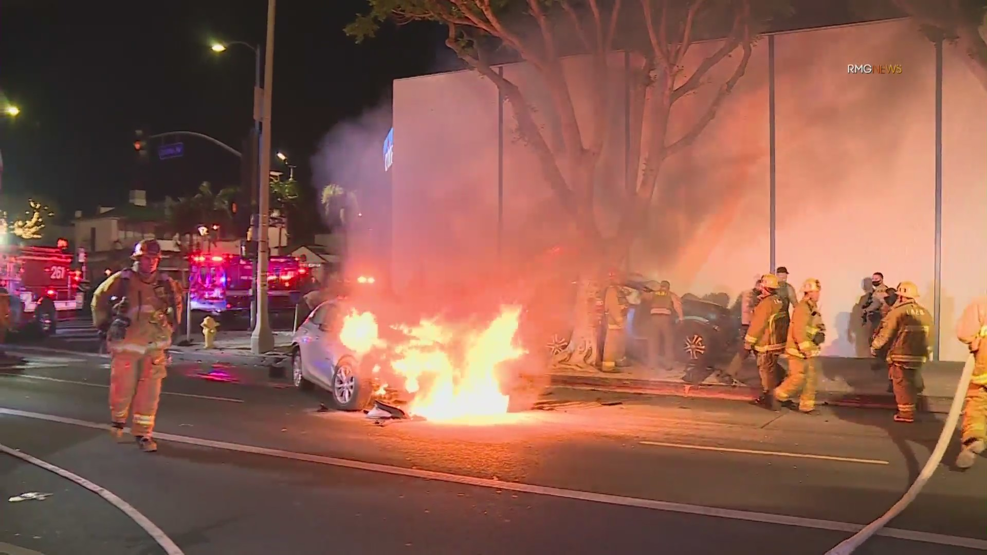 Emergency crews arrive at a fatal crash in Beverly Grove on March 2, 2021. (RMG News)