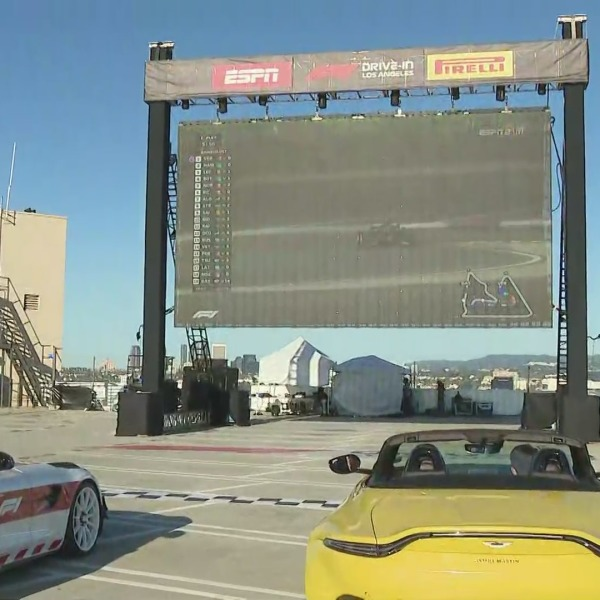 Supercars drive-in & out F1 kickoff event held at The Grove on March 28, 2021. (KTLA)