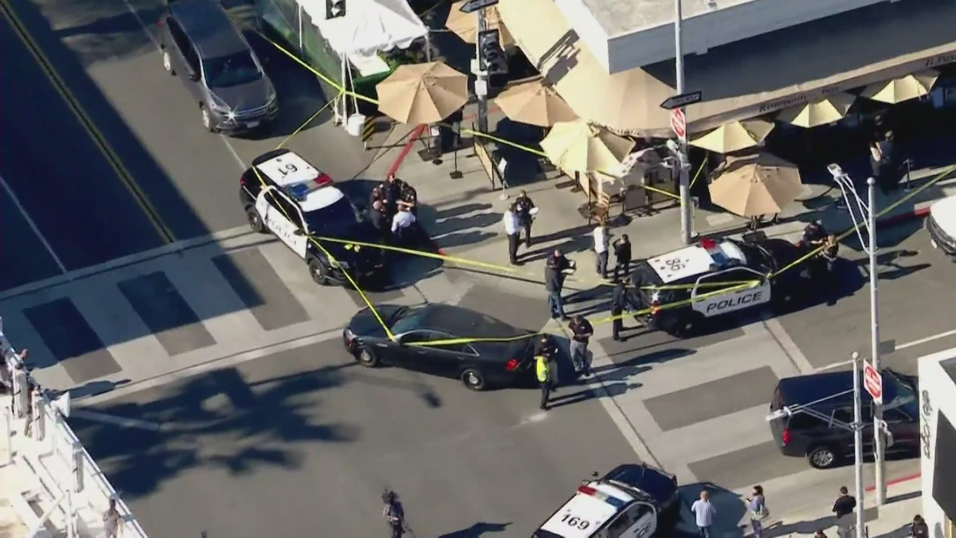 Police respond to shots fired during a robbery at a Beverly Hills restaurant on March 4, 2021. (KTLA)