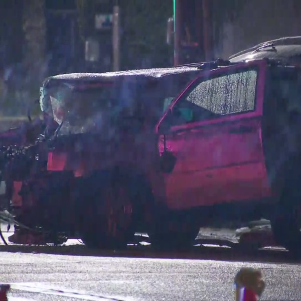 Emergency personnel respond to a deadly crash in Lake View Terrace on March 10, 2021. (KTLA)