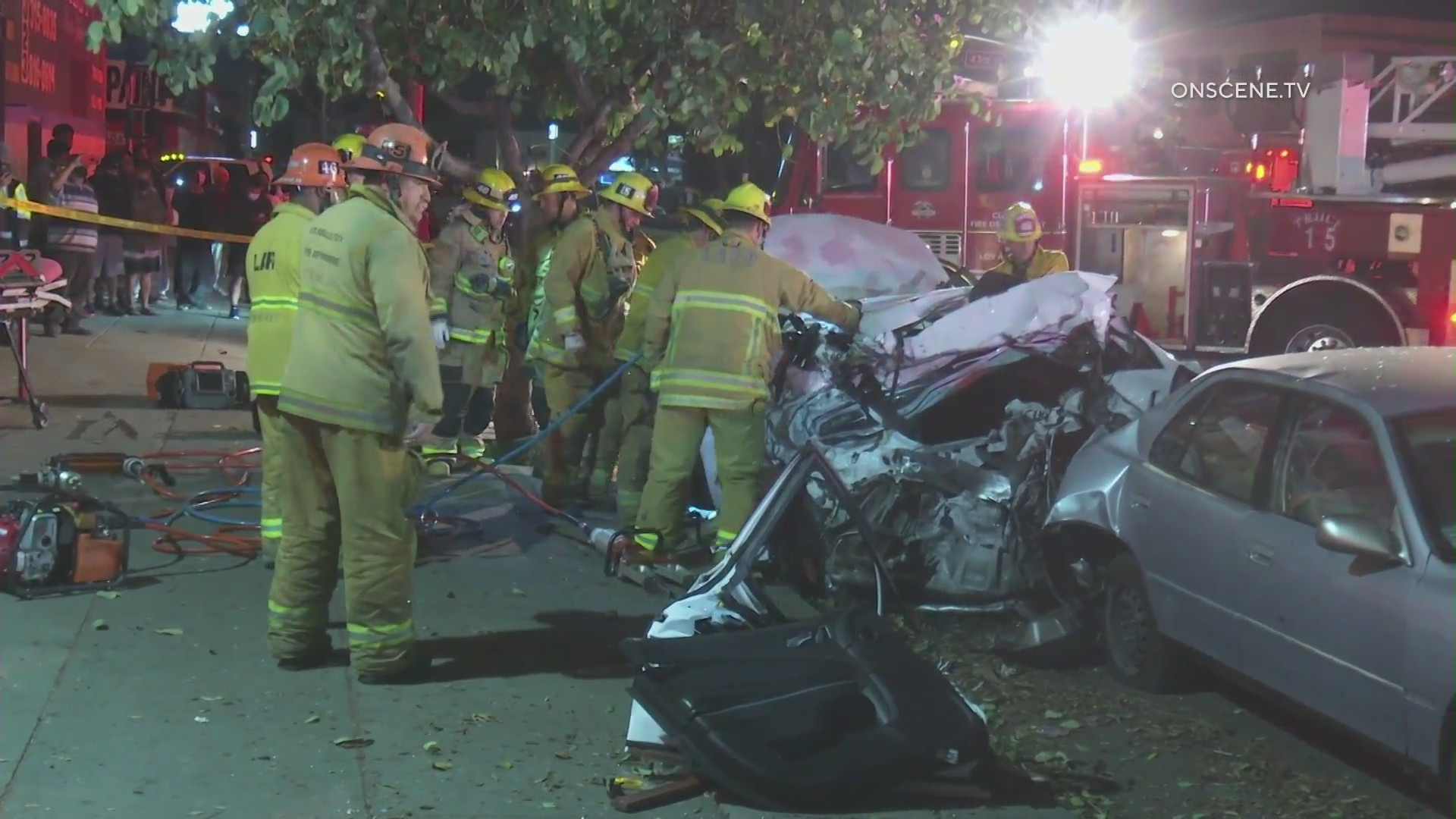 Emergency personnel respond to a fatal crash in South Los Angeles on March 5, 2021. (OnScene.TV)