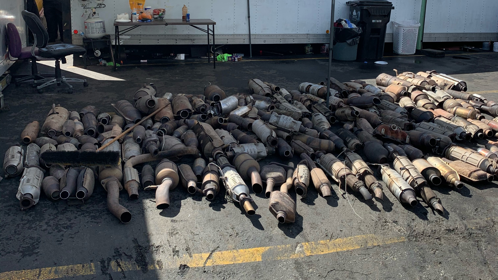 Catalytic converters recovered by the Santa Clarita Valley Sheriff's Station Crime Impact team of the Los Angeles County Sheriff's Department on March 10, 2021. (LASD)