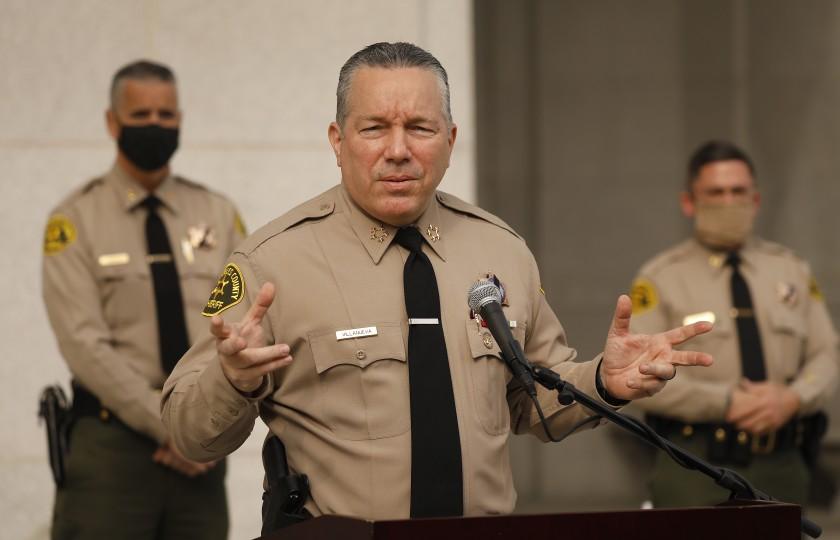 Los Angeles County Sheriff Alex Villanueva is seen in a December 2020 photo. (Al Seib / Los Angeles Times)