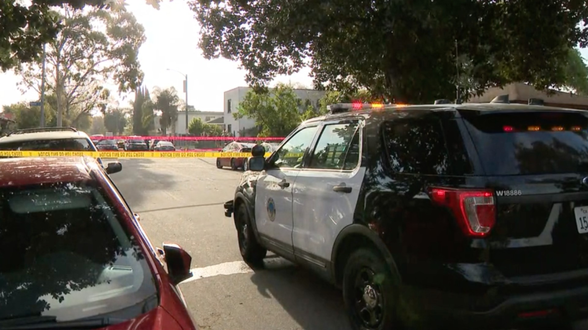 One man was killed and another was hospitalized after a possibly gang-related dispute resulted in a shooting in Long Beach on April 2, 2021. (KTLA)
