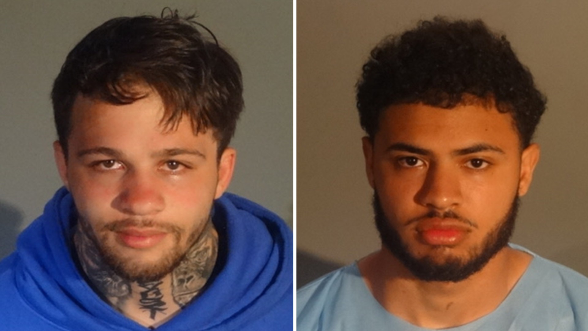 Lavonn Shawn Johnson and Treyton Thomas Halfman, both 21-year-olds from Wisconsin, are seen in booking photos released by Santa Monica police on April 1, 2021.