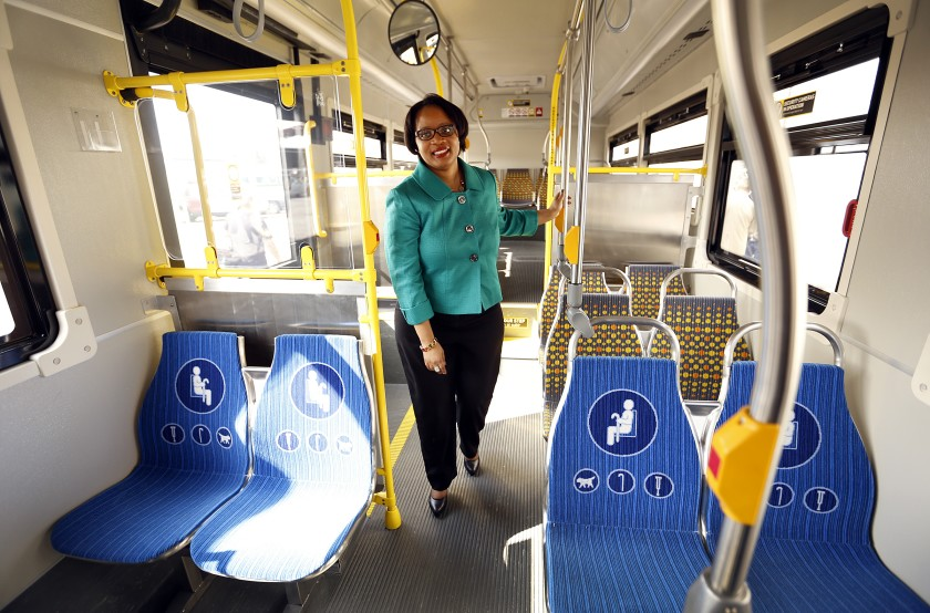 Stephanie Wiggins tours the interior of Metro's first zero-emissions, all-electric bus in 2015. (Los Angeles Times)