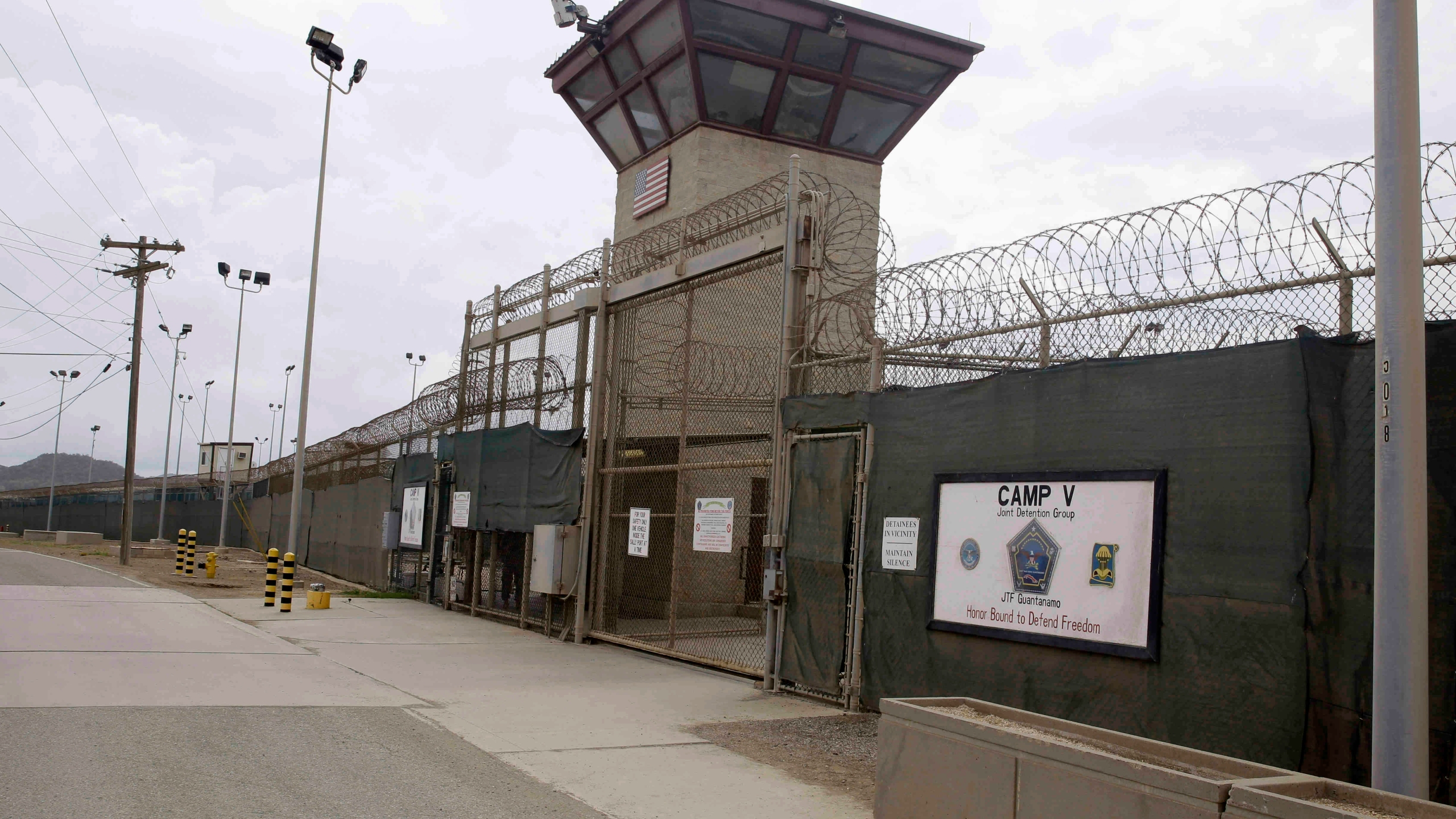 In this June 7, 2014, file photo, the entrance to Camp 5 and Camp 6 at the U.S. military's Guantanamo Bay detention center, at Guantanamo Bay Naval Base, Cuba. (AP Photo/Ben Fox, File)