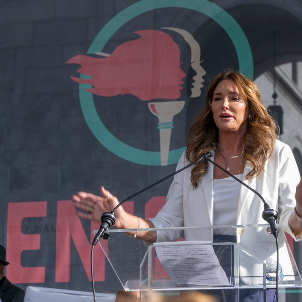 Caitlyn Jenner speaks at the 4th Women's March in Los Angeles on Saturday, Jan. 18, 2020. (AP Photo/Damian Dovarganes)