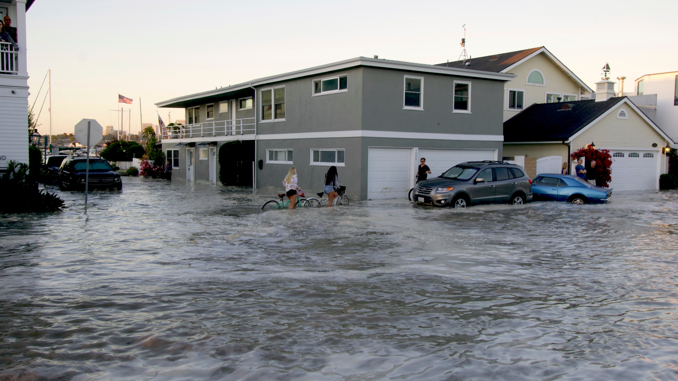 Streets in the Balboa Peninsula were flooded by coastal tides and high surf in Newport Beach, Calif., on July 3, 2020. (AP Photo/Matt Hartman)