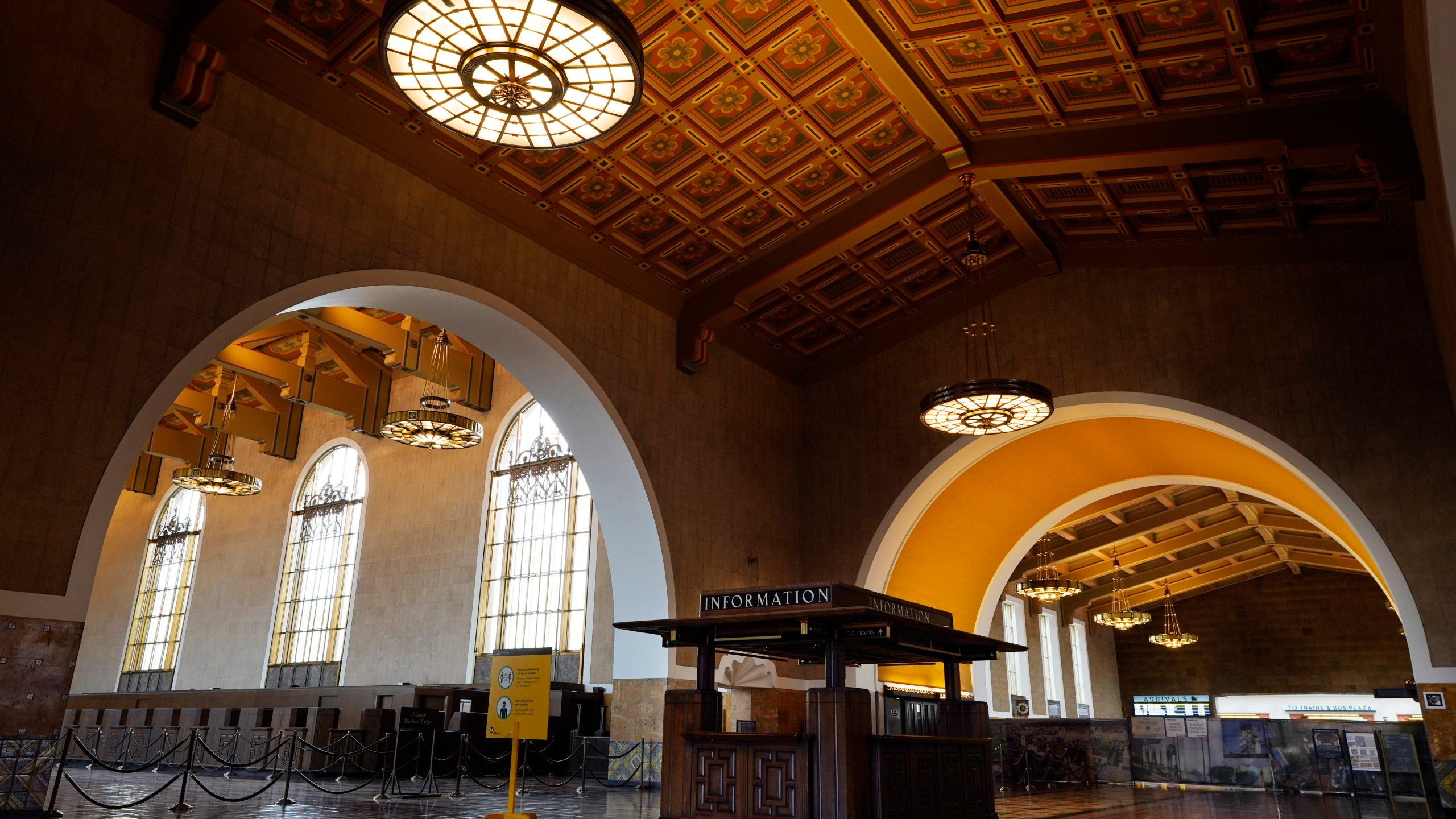 The interior of Union Station in Los Angeles appears on March 23, 2021. (AP Photo/Chris Pizzello)