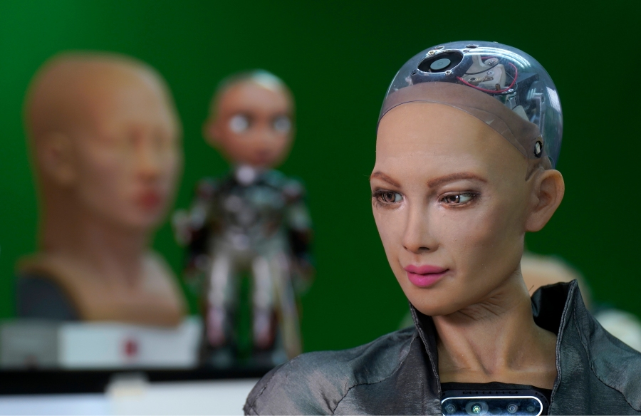 The close-up of the head of Sophia is seen at Hanson Robotics studio in Hong Kong on March 29, 2021. (AP Photo/Vincent Yu)