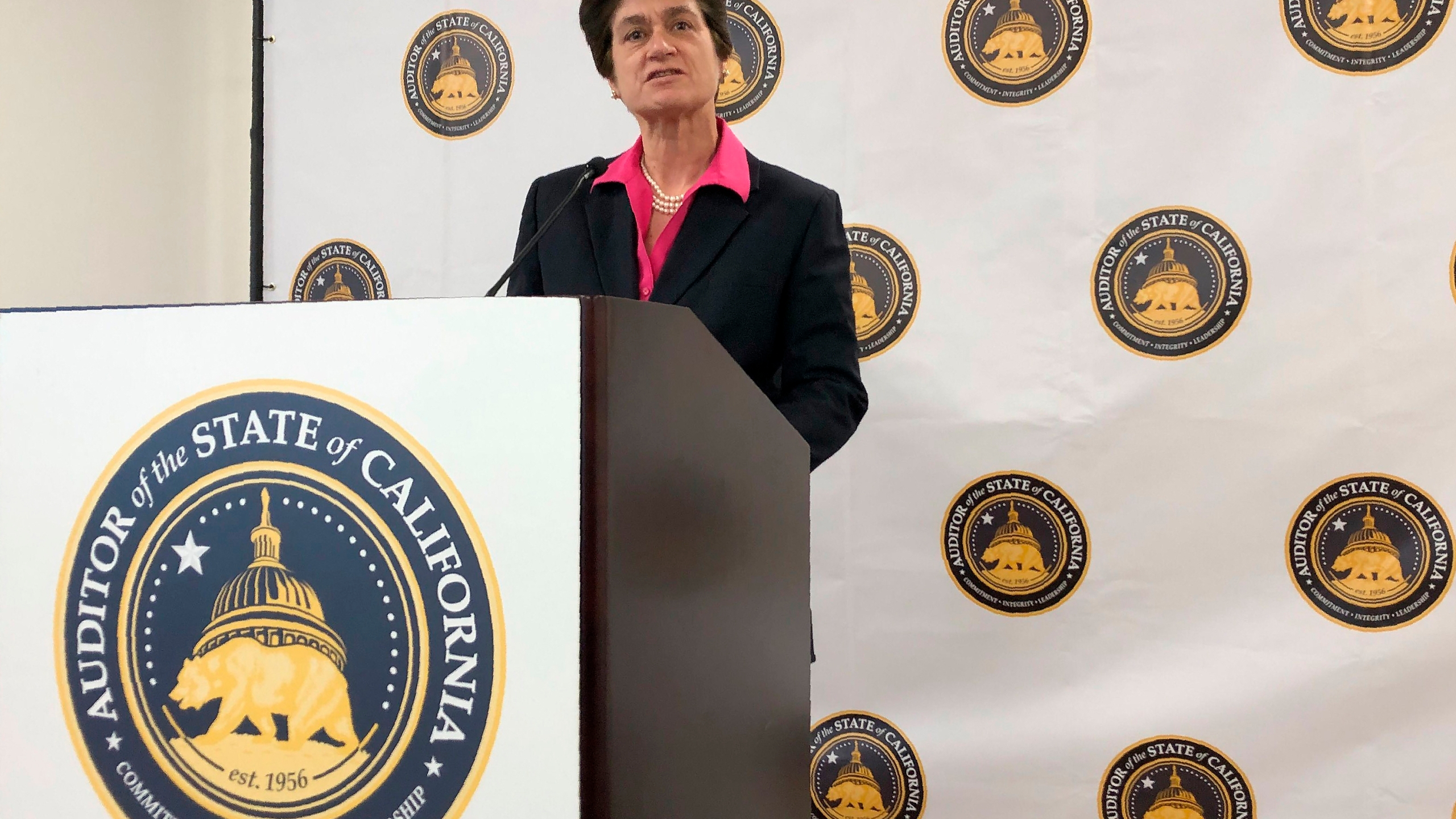 In this Oct. 24, 2019, file photo, California State Auditor Elaine Howle speaks during a news conference in Sacramento, Calif. (AP Photo/Adam Beam, File)