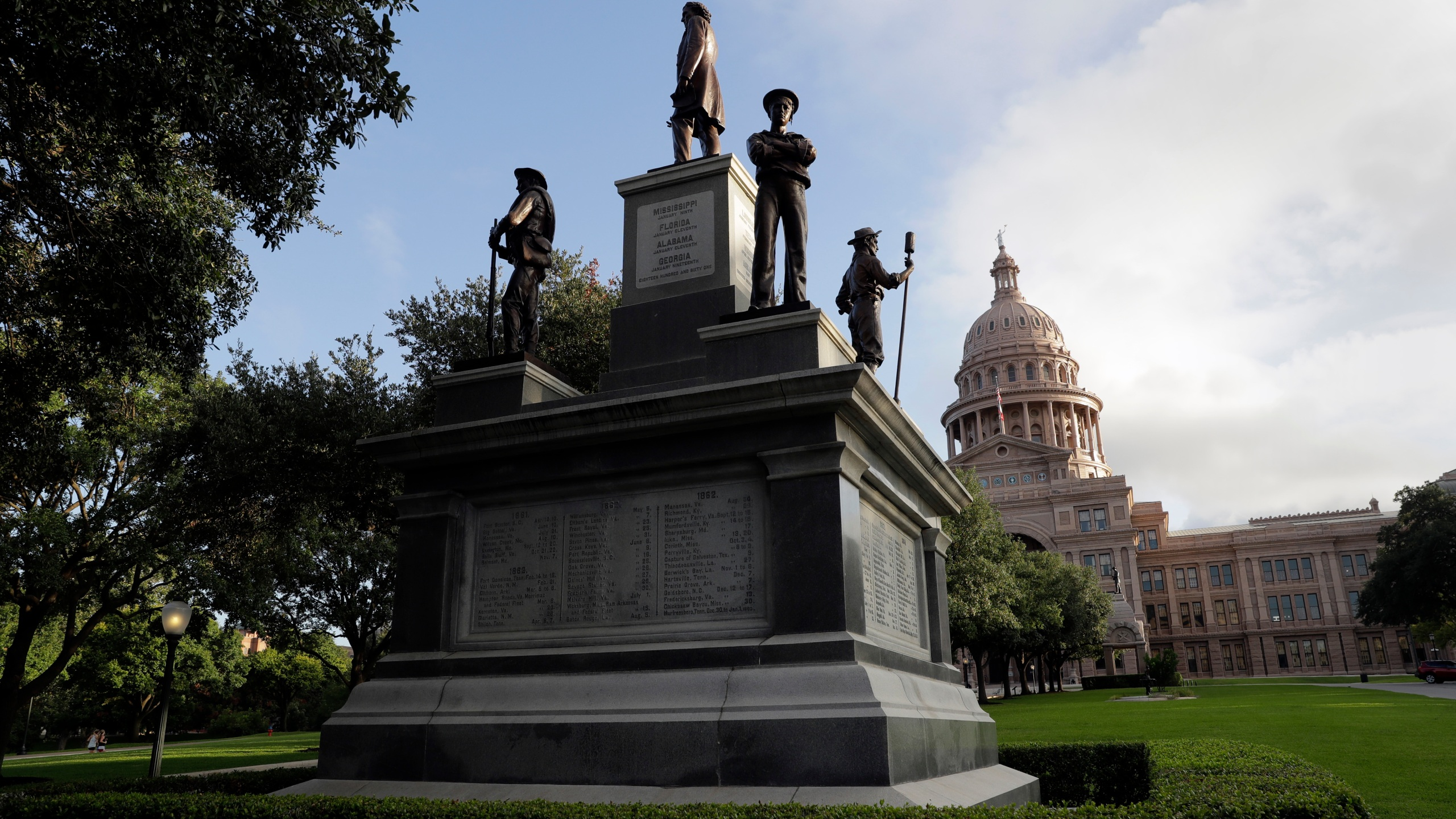 In this Aug. 21, 2017 file photo, the Texas State Capitol Confederate Monument stands on the south lawn in Austin, Texas. As a racial justice reckoning continues to inform conversations across the country, lawmakers nationwide are struggling to find solutions to thousands of icons saluting controversial historical figures. (AP Photo/Eric Gay, File)