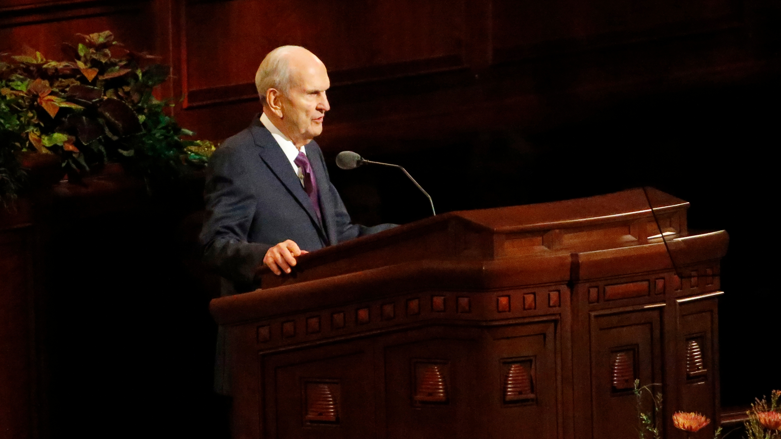 In this Oct. 5, 2019 file photo, President Russell M. Nelson speaks during The Church of Jesus Christ of Latter-day Saints' twice-annual church conference in Salt Lake City. (AP Photo/Rick Bowmer, File)