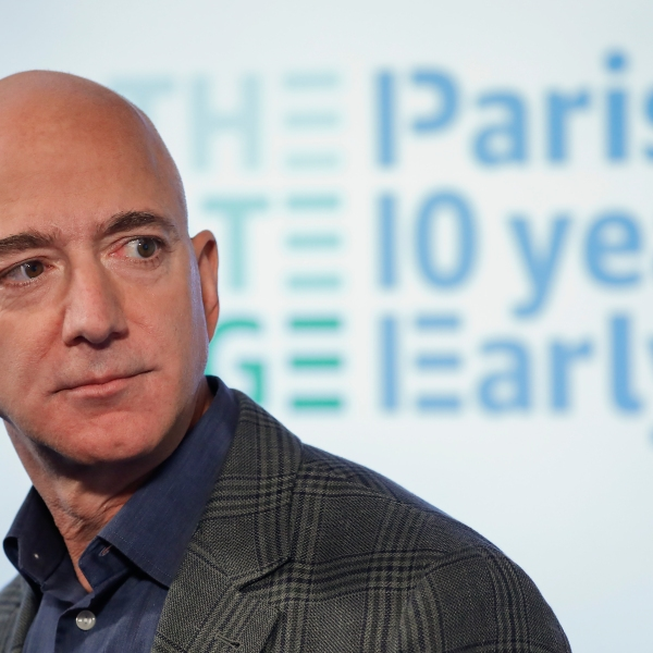 In this Sept. 19, 2019, file photo, Amazon CEO Jeff Bezos speaks during his news conference at the National Press Club in Washington. Bezos endorsed President Joe Biden's focus on building up the country's infrastructure Tuesday, April 6, 2021, and said the company even supports a corporate tax rate hike to help pay for it. (AP Photo/Pablo Martinez Monsivais, File)