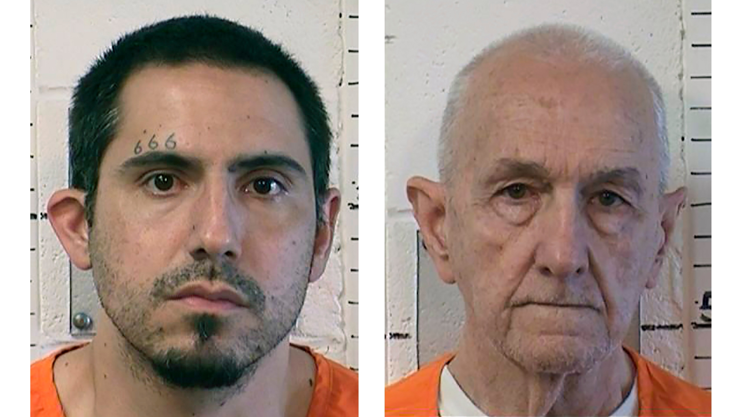 "In file photos provided by the California Department of Correction and Rehabilitation are Jason Budrow, left, and Roger Reece Kibbe. Budrow, accused of strangling the California serial killer known as the ""I-5 Strangler,"" won't face the death penalty. (California Department of Correction and Rehabilitation via AP, File)"