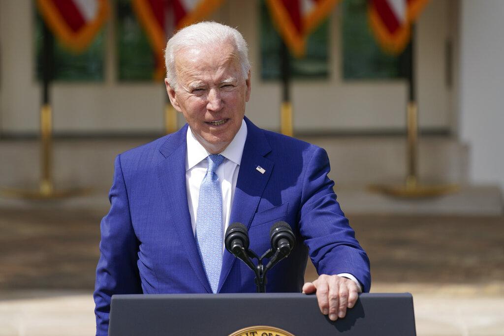 President Joe Biden speaks about gun violence prevention in the Rose Garden at the White House on April 8, 2021, in Washington. (AP Photo/Andrew Harnik)