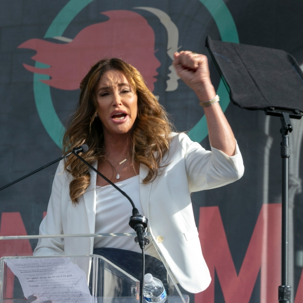 In this Jan. 18, 2020, file photo Caitlyn Jenner speaks at the 4th Women's March in Los Angeles. (Damian Dovarganes/Associated Press)
