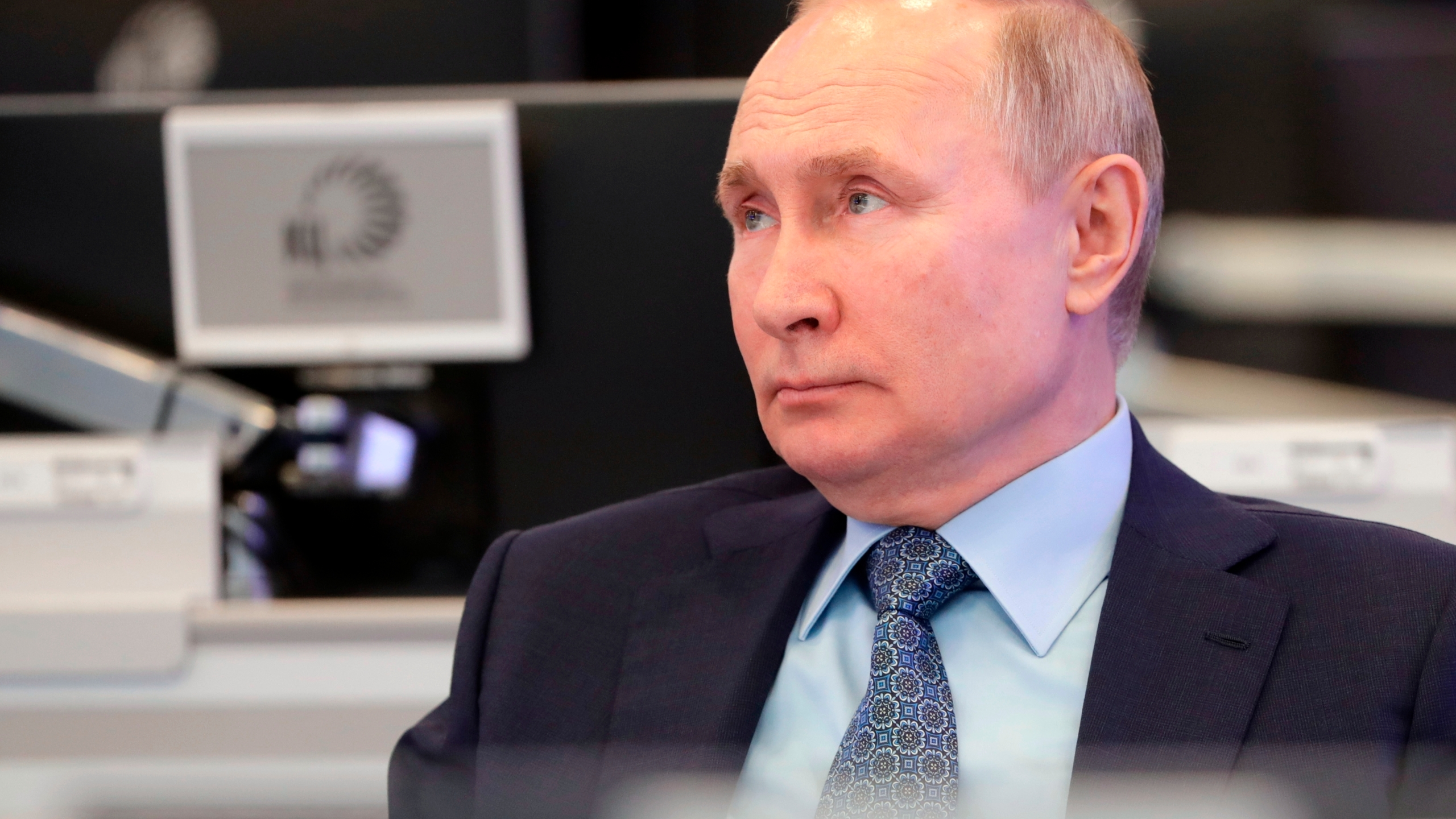 Russian President Vladimir Putin visits the Coordination Center of the Russian Government in Moscow, Russia on April 13, 2021. (Mikhail Metzel, Sputnik, Kremlin Pool Photo via AP)