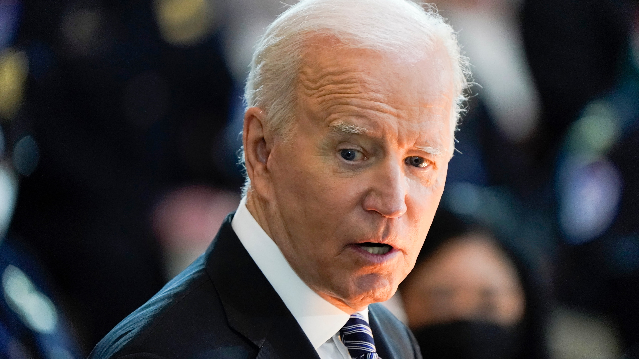 "President Joe Biden speaks during a ceremony to honor slain U.S. Capitol Police officer William ""Billy"" Evans as he lies in honor at the Capitol in Washington on April 13, 2021. (J. Scott Applewhite / Associated Press)"