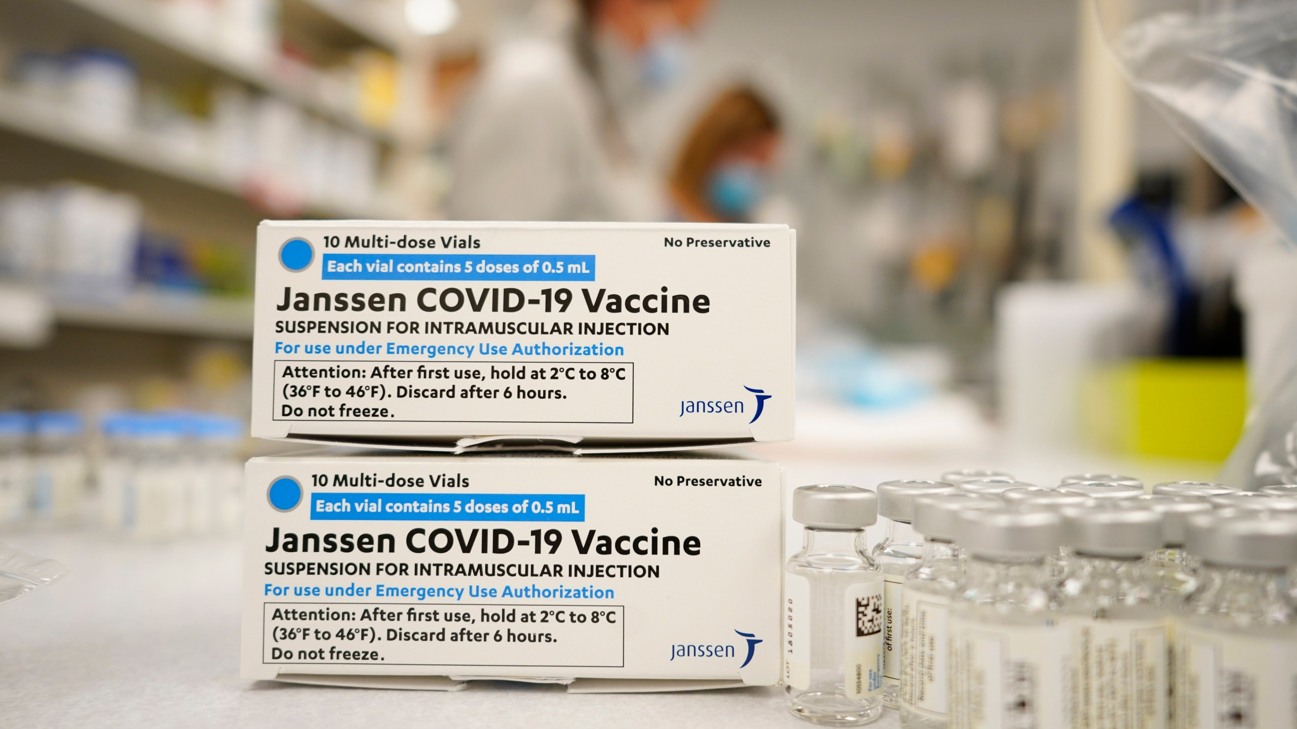 In this March 6, 2021, file photo, boxes stand next vials of Johnson & Johnson COVID-19 vaccine in Denver. (AP Photo/David Zalubowski, File)