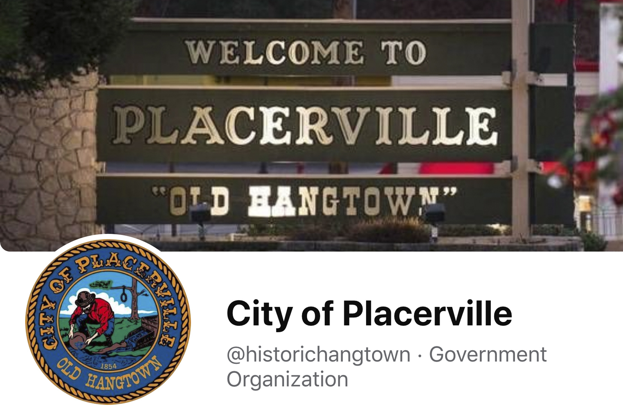 "This image from the City of Placerville's Facebook page shows the town's logo that includes a noose. The California Gold Rush town of Placerville will change its logo to remove a noose that stems from its mid-19th century reputation as ""Hangtown"" following lynchings of criminal suspects by mobs of miners. (City of Placerville/Facebook via AP)"