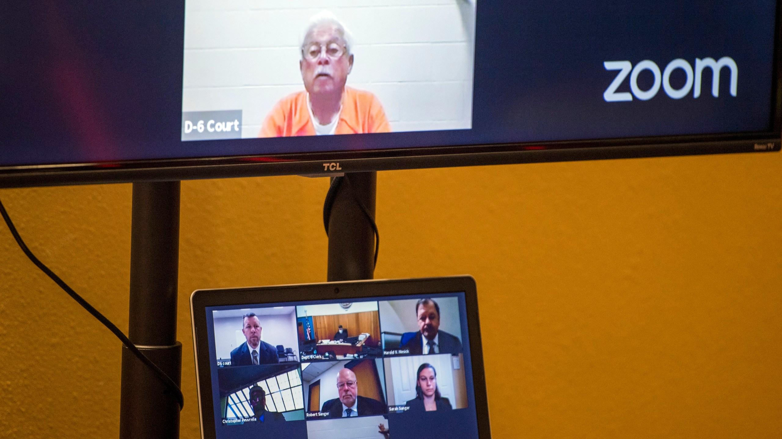 Defendant Ruben Flores appears via video conference during his arraignment, Thursday, April 15, 2021, in San Luis Obispo Superior Court in San Luis Obispo. (AP Photo/Nic Coury)