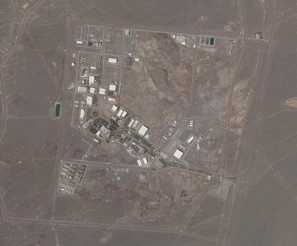 This satellite photo provided from Planet Labs Inc. shows Iran's Natanz nuclear facility on Wednesday, April 14, 2021. (Planet Labs via AP)