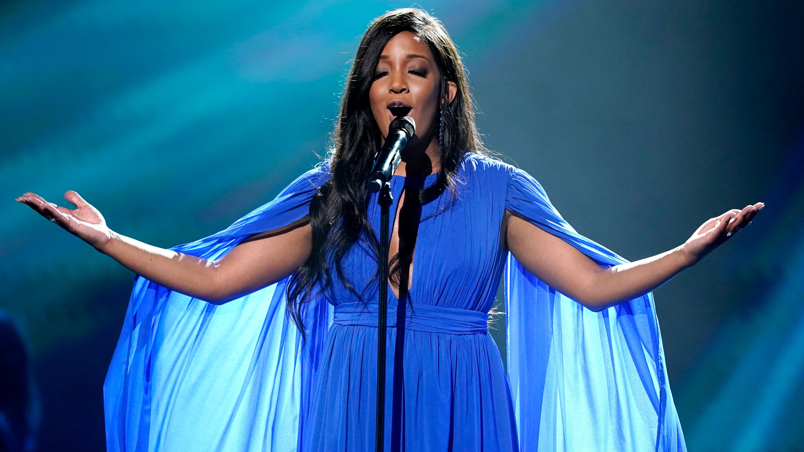 Mickey Guyton performs at the 56th annual Academy of Country Music Awards on Friday, April 16, 2021, at the Grand Ole Opry in Nashville, Tenn. (AP Photo/Mark Humphrey)