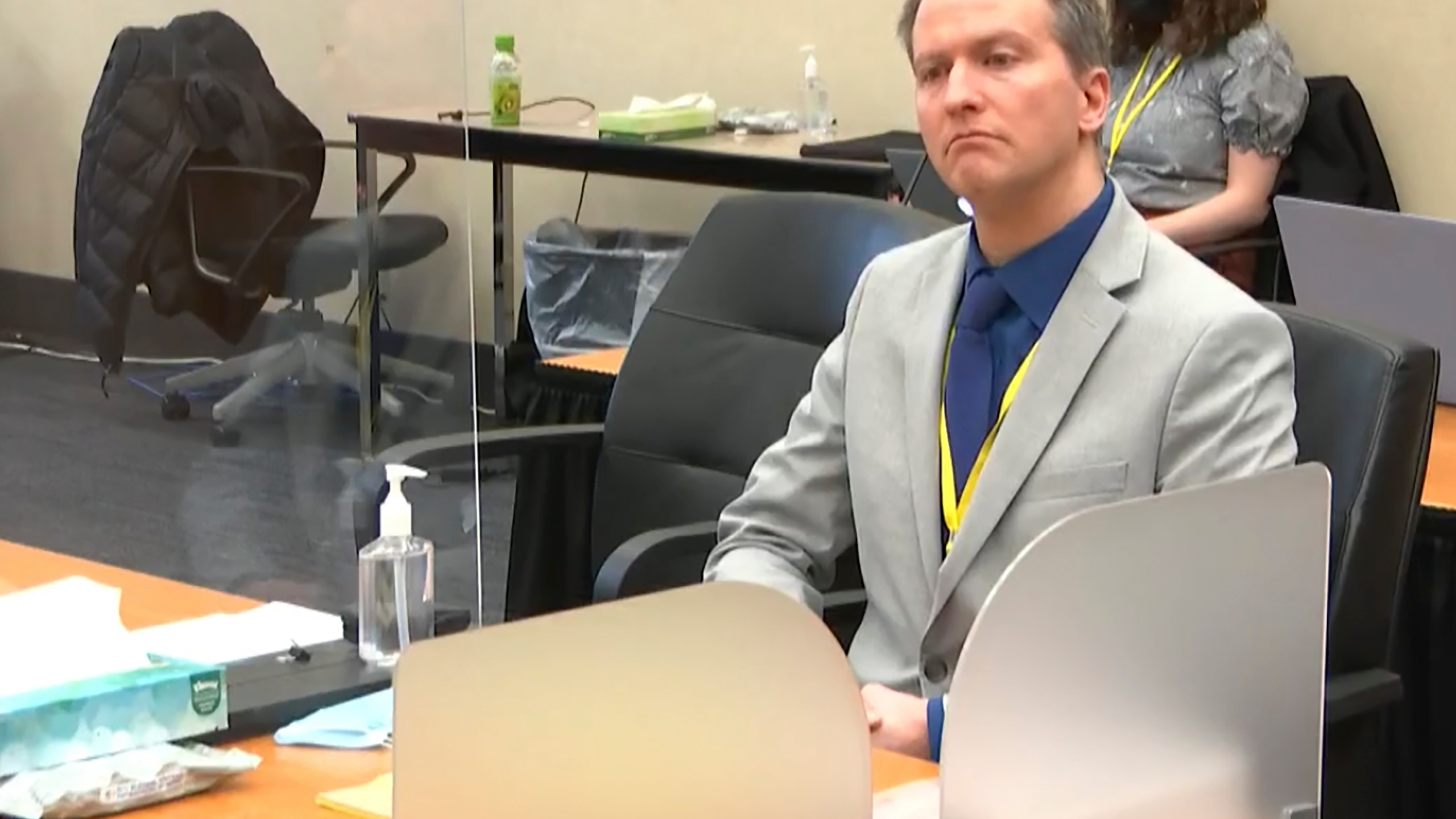 In this image from video, former Minneapolis police officer Derek Chauvin listens as his defense attorney Eric Nelson gives closing arguments April 19, 2021, at the Hennepin County Courthouse in Minneapolis. (Court TV via AP, Pool)