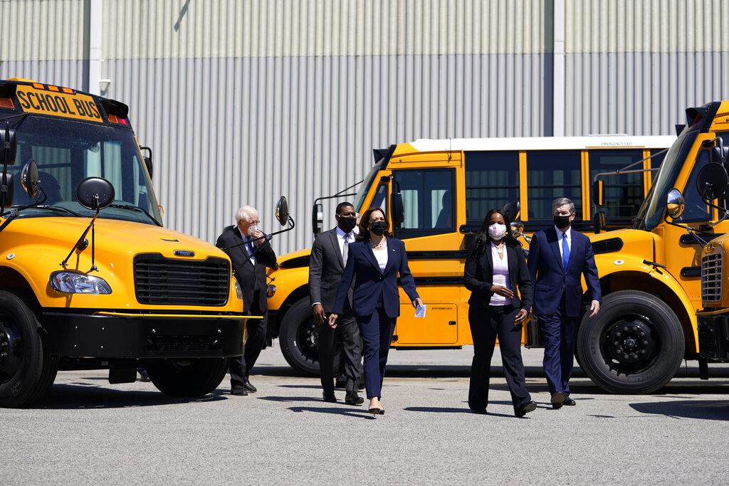 Vice President Kamala Harris tours Thomas Built Buses, Monday, April 19, 2021, in High Point, N.C. (AP Photo/Carolyn Kaster)