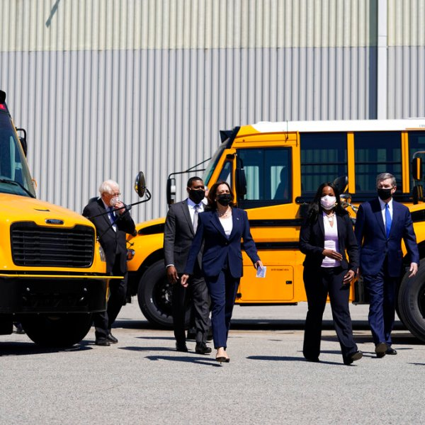 Vice President Kamala Harris tours Thomas Built Buses, Monday, April 19, 2021, in High Point, N.C. (AP Photo/Carolyn Kaster)