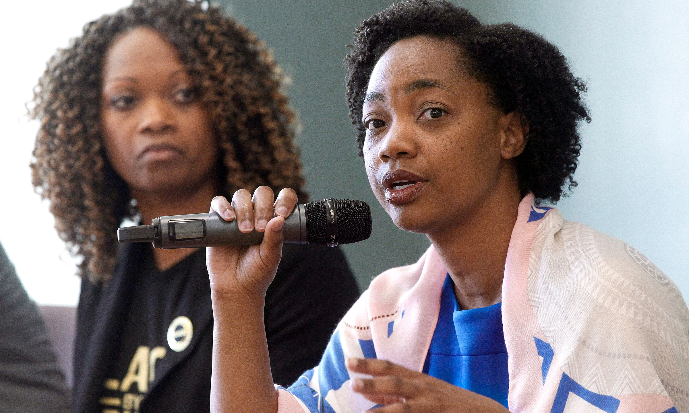 In this Feb. 23, 2019 file photo La Mesa City Council member Akilah Weber speaks as she sits with other members of the panel during the Black Excellence in Public Service: Serving and Protecting Our Children forum held at the Skyline Hills Branch Library in San Diego. (Hayne Palmour IV/The San Diego Union-Tribune via Associated Press)