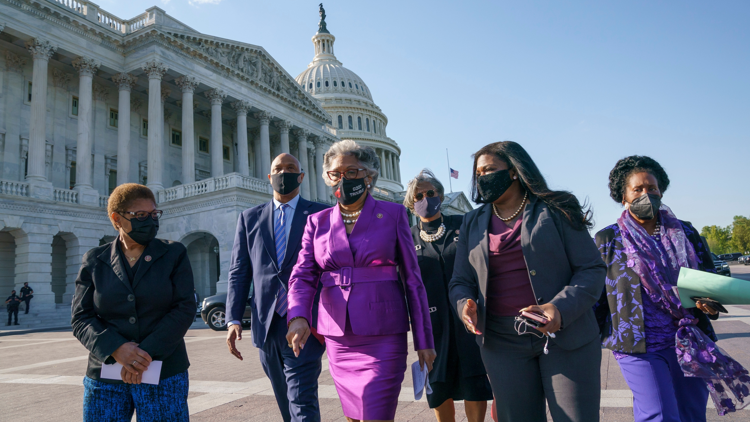 Members of the Congressional Black Caucus walk to make a make a statement on Capitol Hill following the guilty verdict in the murder trial of former Minneapolis police Officer Derek Chauvin in the death of George Floyd on April 20, 2021. From left are Rep. Karen Bass, D-Calif., Rep. Andre Carson, D-Ind. Rep. Joyce Beatty, D-Ohio, chair of the Congressional Black Caucus, Rep. Brenda Lawrence, D-Mich., Rep. Cori Bush, D-Mo., and Rep. Sheila Jackson Lee, D-Tex. (J. Scott Applewhite / Associated Press)