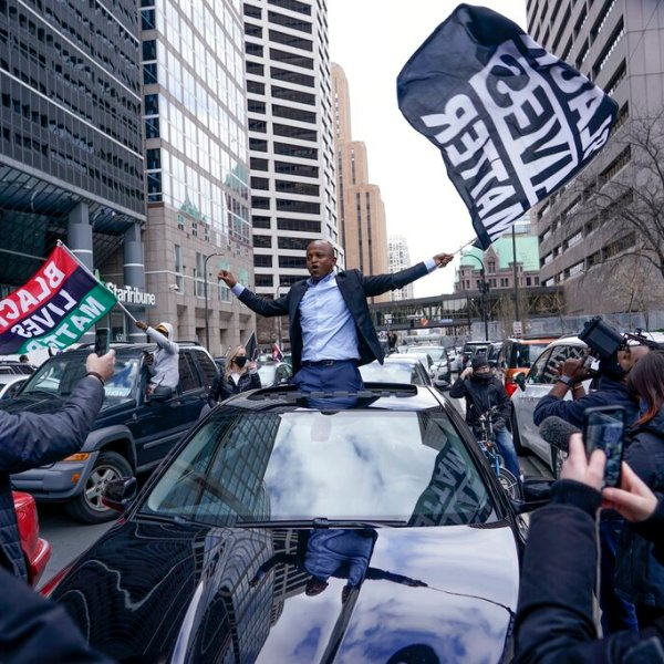 People rally outside the courthouse in Minneapolis on Tuesday, April 20, 2021, after the guilty verdicts were announced in the trial of former Minneapolis police officer Derek Chauvin in the death of George Floyd. (AP Photo/Morry Gash)