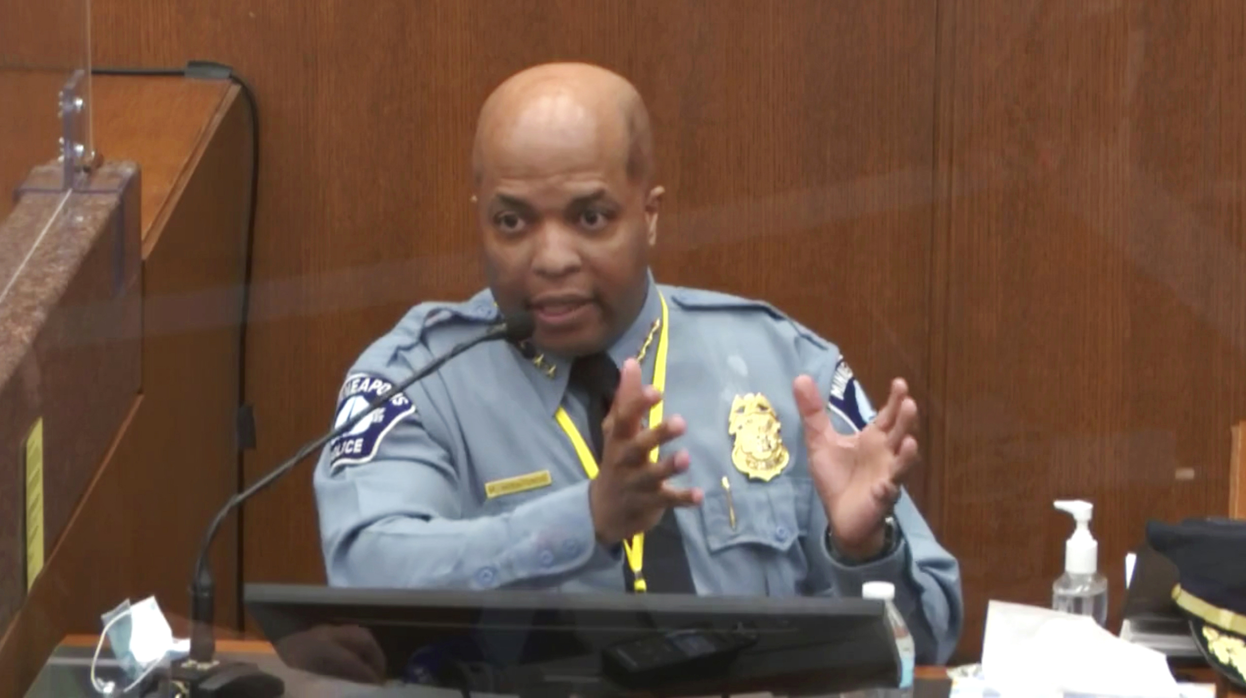 In this image from video, witness Minneapolis Police Chief Medaria Arradondo testifies on April 5, 2021, in the trial of former Minneapolis police Officer Derek Chauvin at the Hennepin County Courthouse in Minneapolis. (Court TV via AP, Pool)