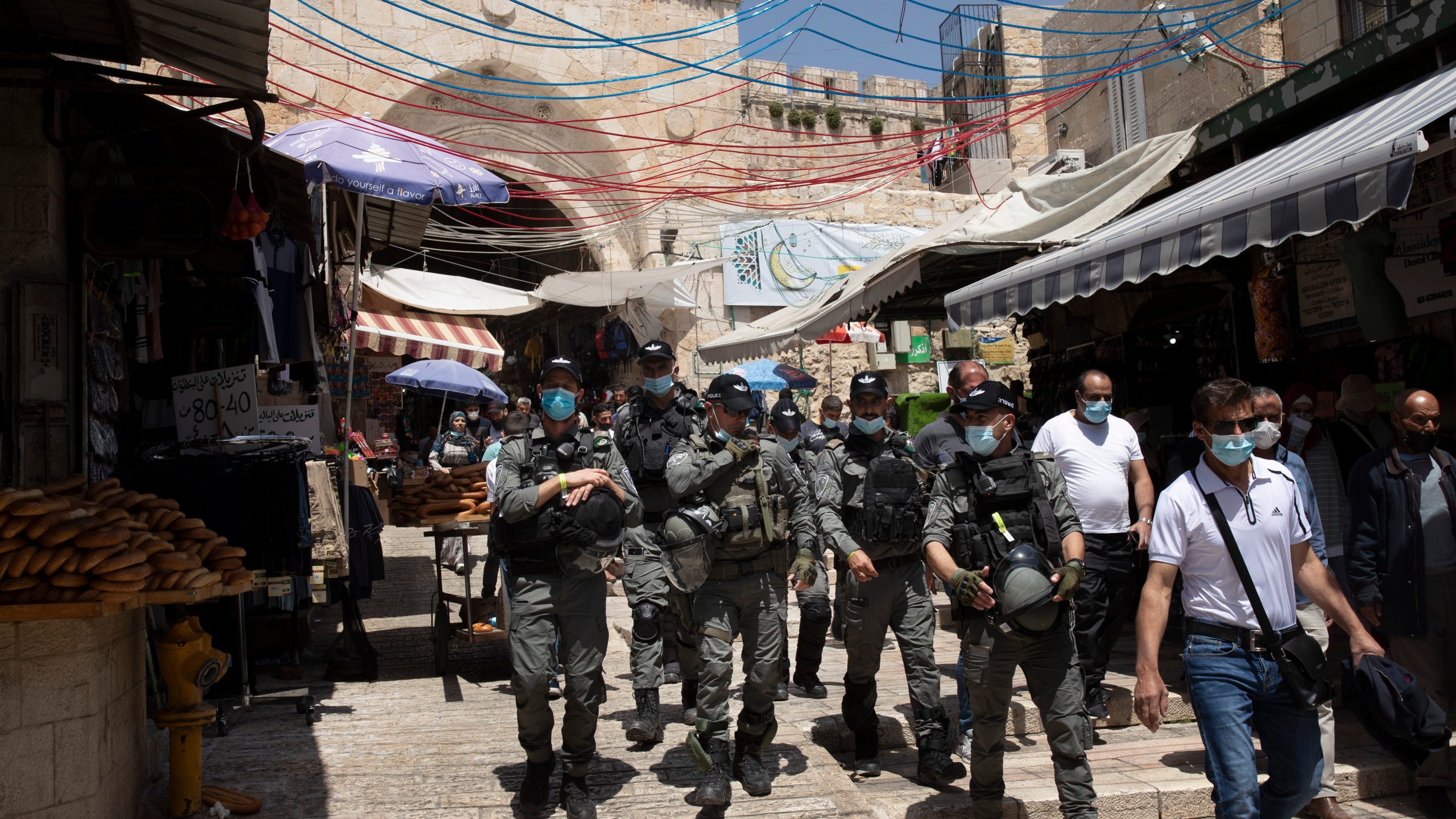 Israeli Border Police patrol the Old City of Jerusalem as worshippers arrive for Friday prayers during the Muslim holy month of Ramadan, on Friday, April 23, 2021. (AP Photo/Maya Alleruzzo)