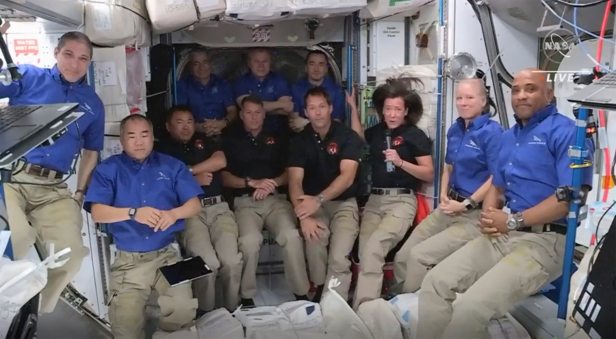 This image provided by NASA, astronauts from SpaceX join the astronauts of the International Space Station for an interview on Saturday, April 24, 2021. (NASA via AP)