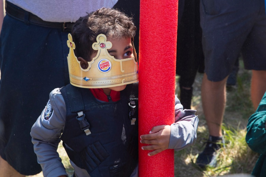 Lincoln native four-year-old Joshua Vinson Jr. is crowned the ultimate Josh on Saturday, April 24, 2021, in Lincoln, Neb. (Kenneth Ferriera/Lincoln Journal Star via AP)