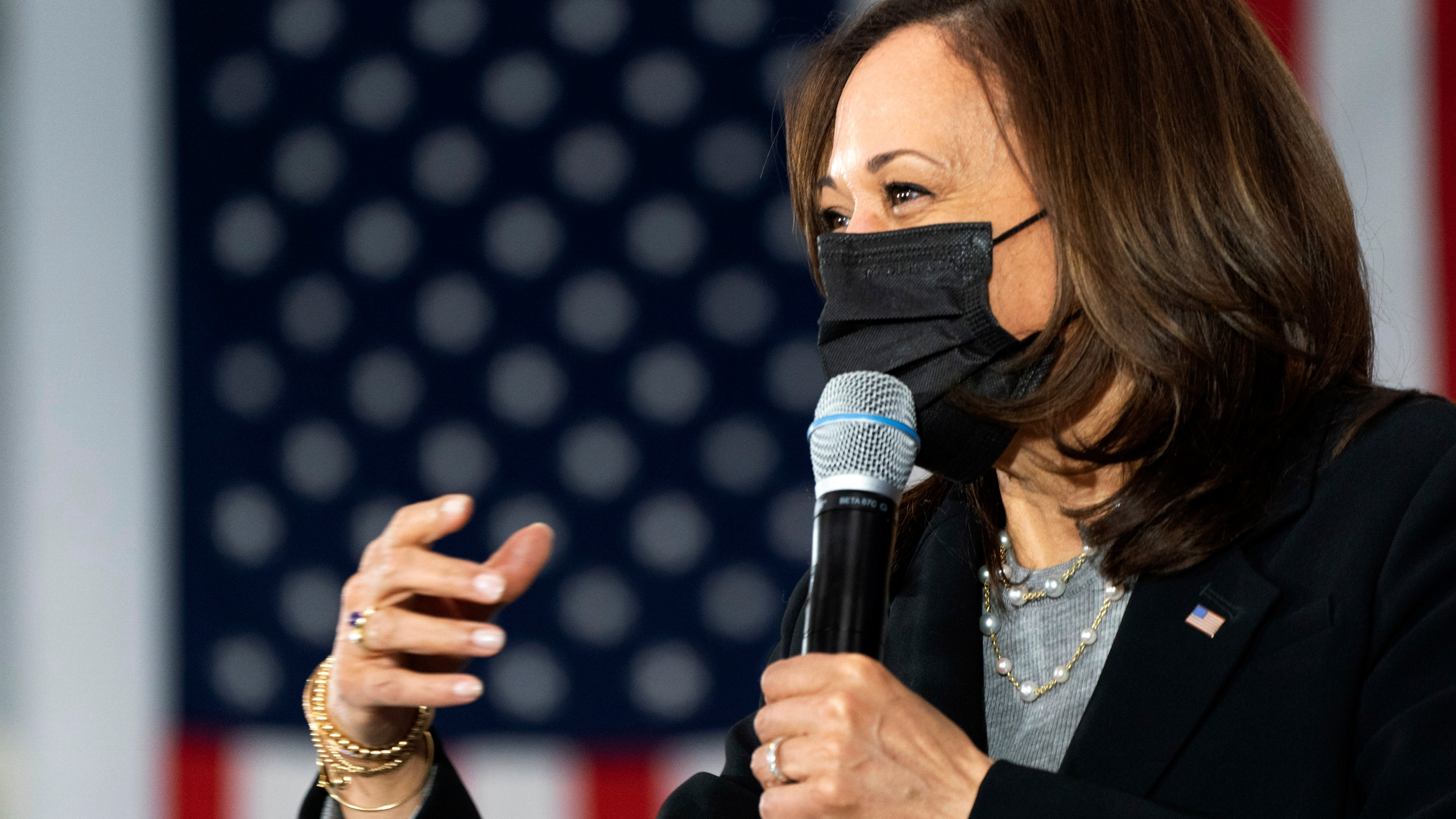 In this Friday, April 23, 2021, file photo, Vice President Kamala Harris speaks at the IBEW Training Center in Concord, N.H. (AP Photo/Jacquelyn Martin, File)