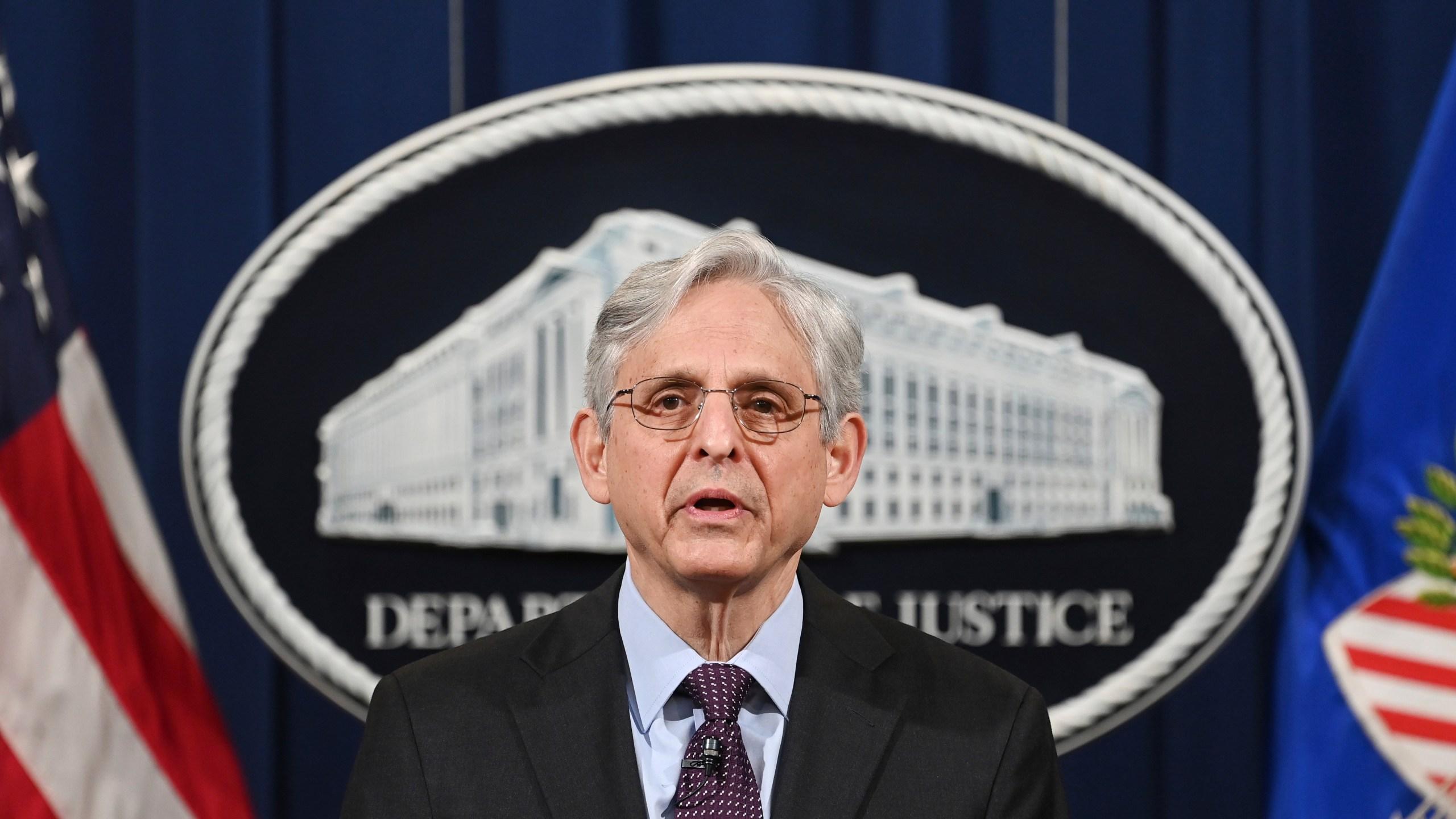 Attorney General Merrick Garland speaks at the Department of Justice in Washington, Monday, April 26, 2021. (Mandel Ngan/Pool via AP)