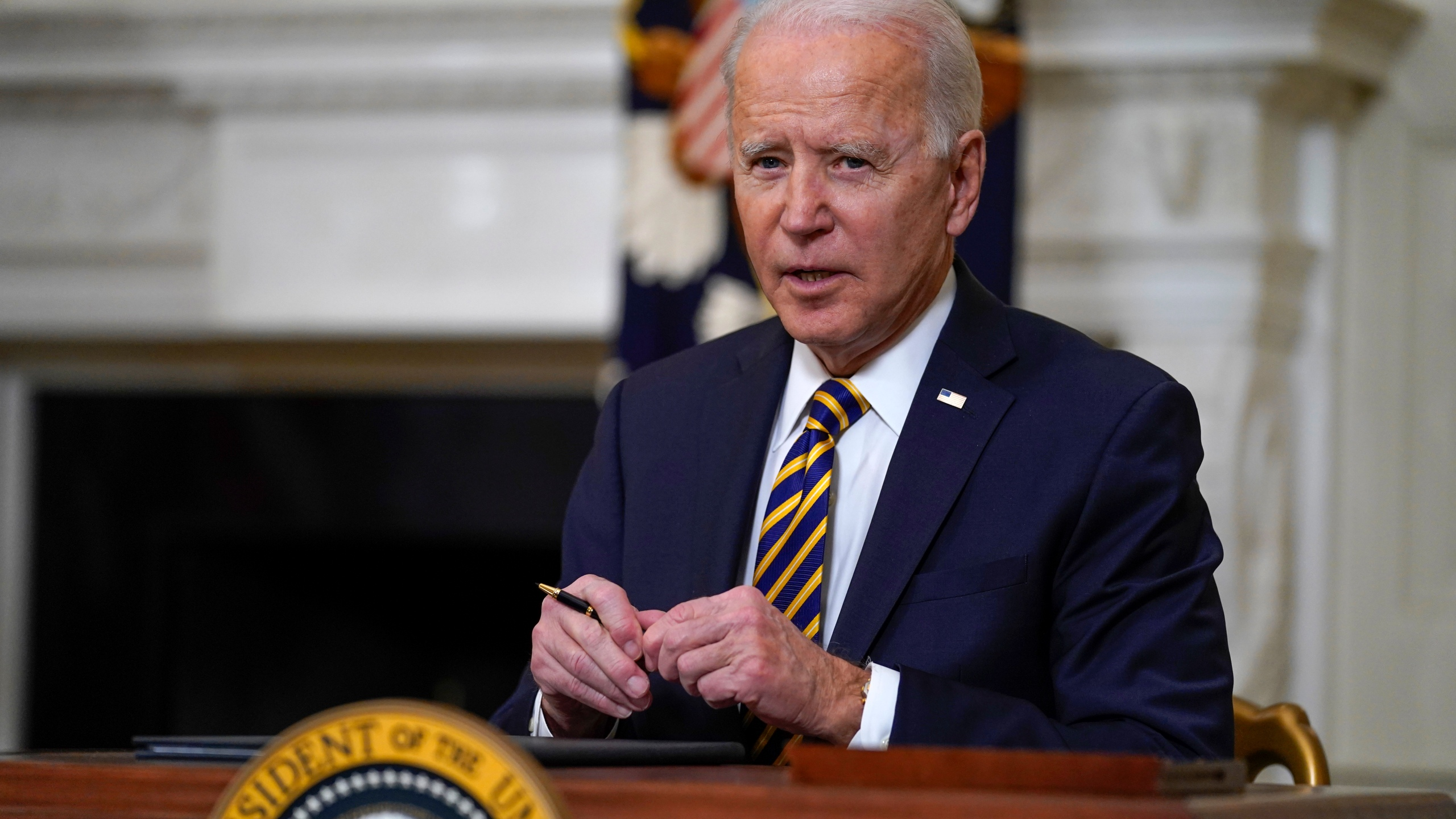 In this Feb. 24, 2021, file photo, President Joe Biden pauses after signing an executive order relating to U.S. supply chains, in the State Dining Room of the White House in Washington. (AP Photo/Evan Vucci, File)