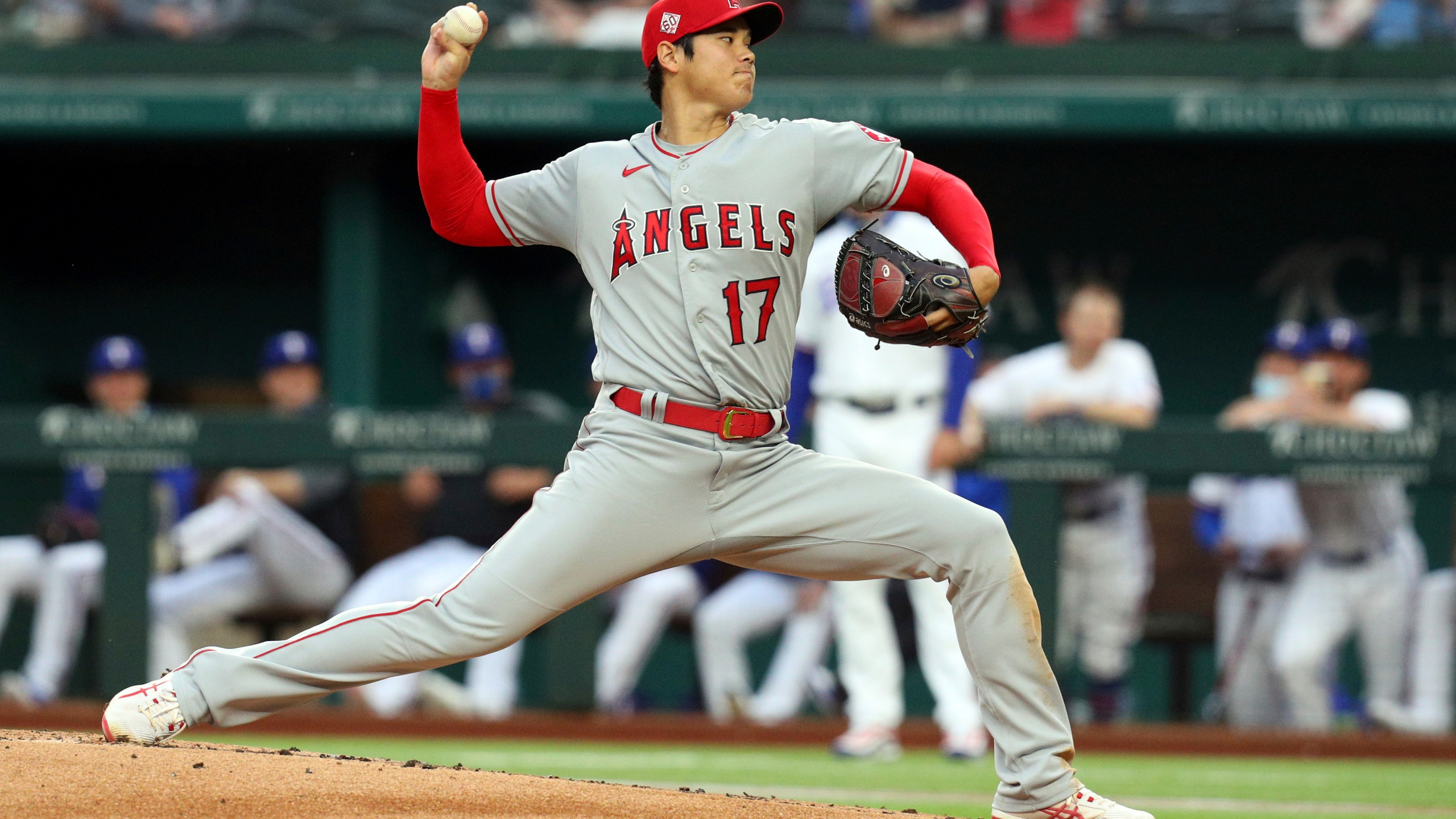 Los Angeles Angels starting pitcher Shohei Ohtani works the first inning during a baseball game against the Texas Rangers in Arlington, Texas, on April 26, 2021. (Richard W. Rodriguez / Associated Press)