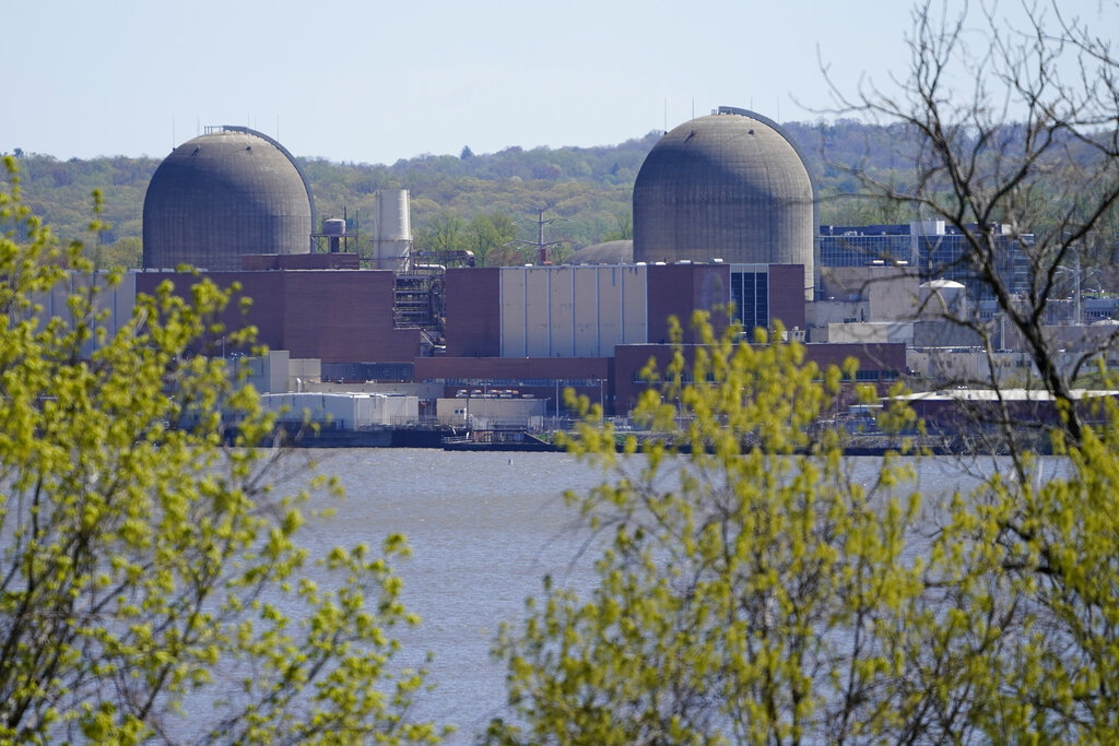 Indian Point Energy Center is seen on the Hudson River in Buchanan, N.Y., Monday, April 26, 2021. (AP Photo/Seth Wenig)