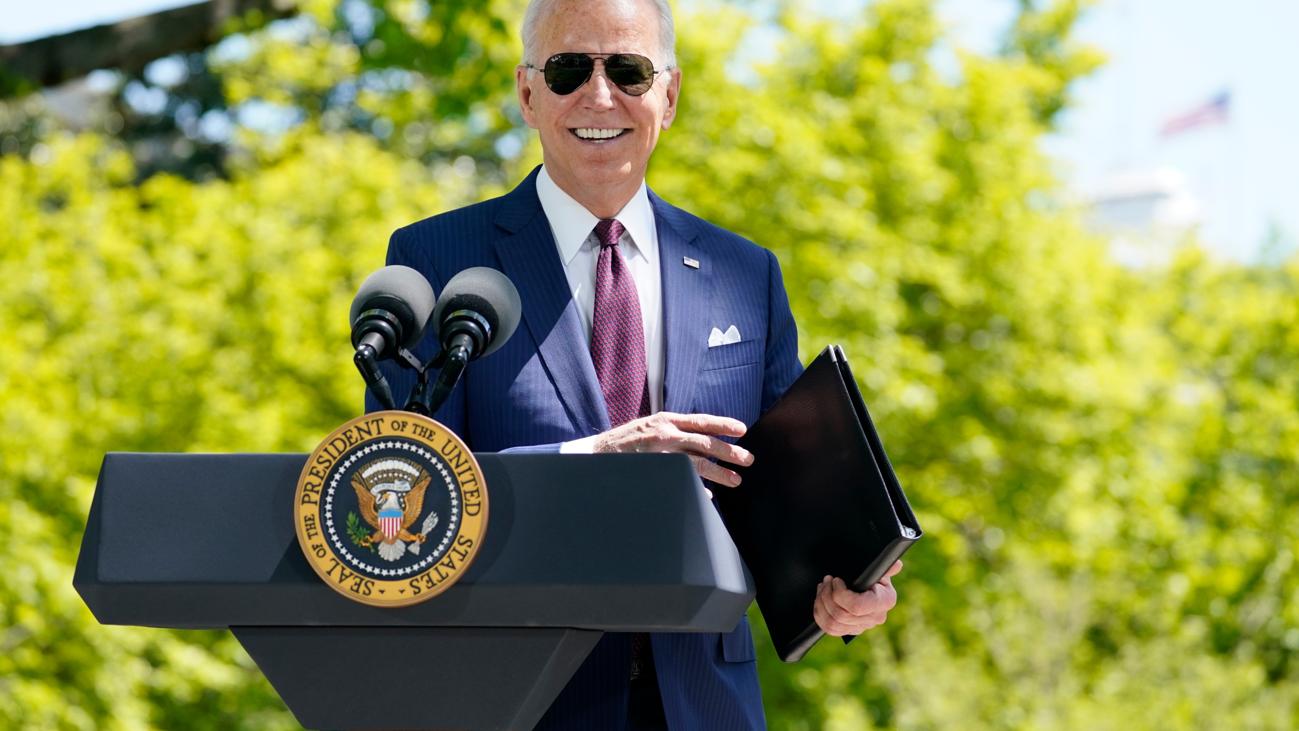 President Joe Biden responds to a question from reporters about COVID-19, on the North Lawn of the White House on April 27, 2021, in Washington. (AP Photo/Evan Vucci)