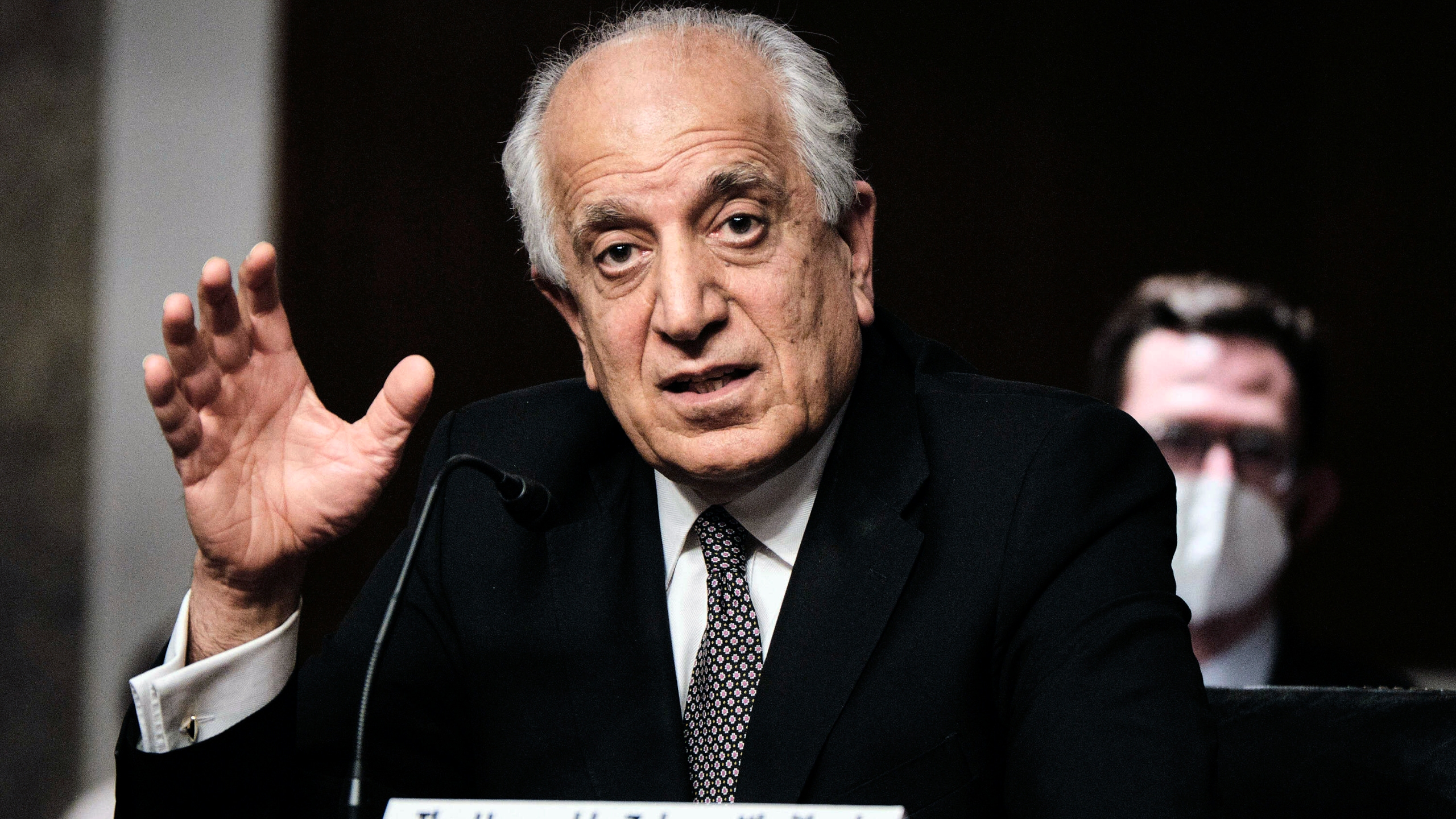 Zalmay Khalilzad, special envoy for Afghanistan Reconciliation, testifies before the Senate Foreign Relations Committee on Capitol Hill in Washington on April 27, 2021, during a hearing on the Biden administration's Afghanistan policy and plans to withdraw troops after two decades of war. (T.J. Kirkpatrick/The New York Times via AP, Pool)