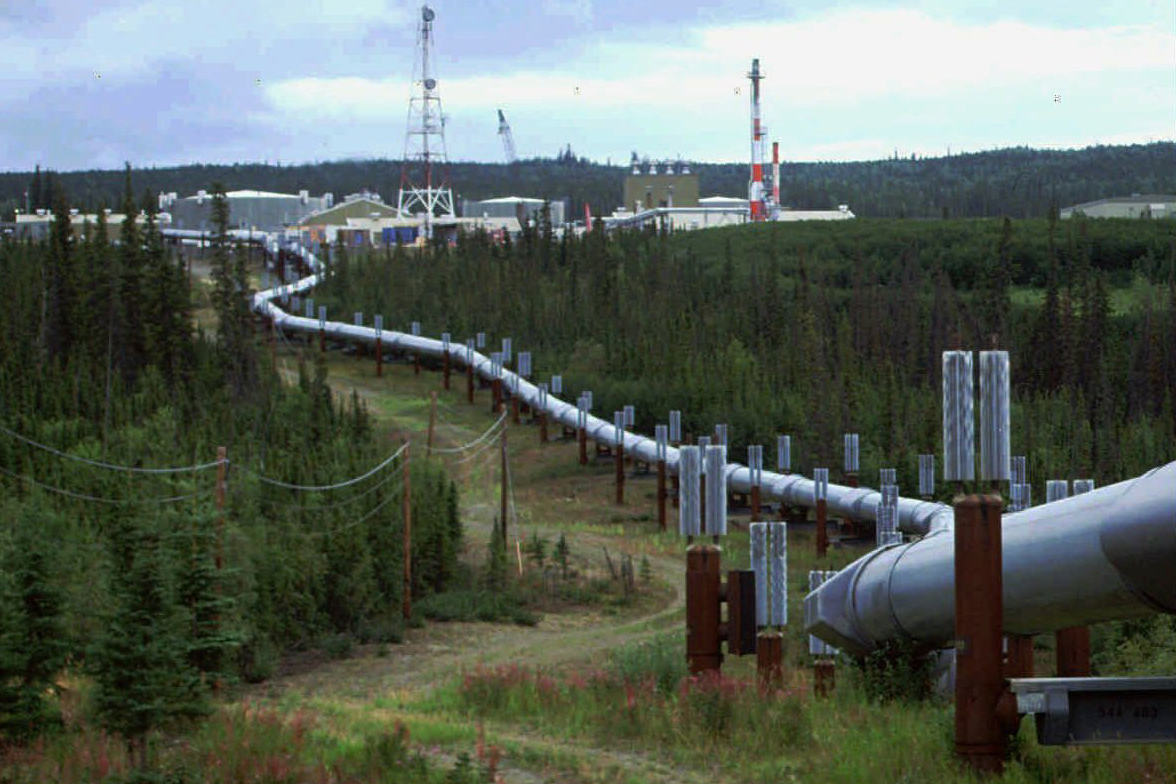 In this undated file photo the Trans-Alaska pipeline and pump station north of Fairbanks, Alaska is shown. (AP Photo/Al Grillo, file)