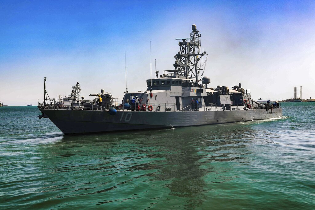 This April 14, 2020, file photo provided by the U.S. Army shows the USS Firebolt in Manama, Bahrain. (Spc. Cody Rich/U.S. Army via AP)