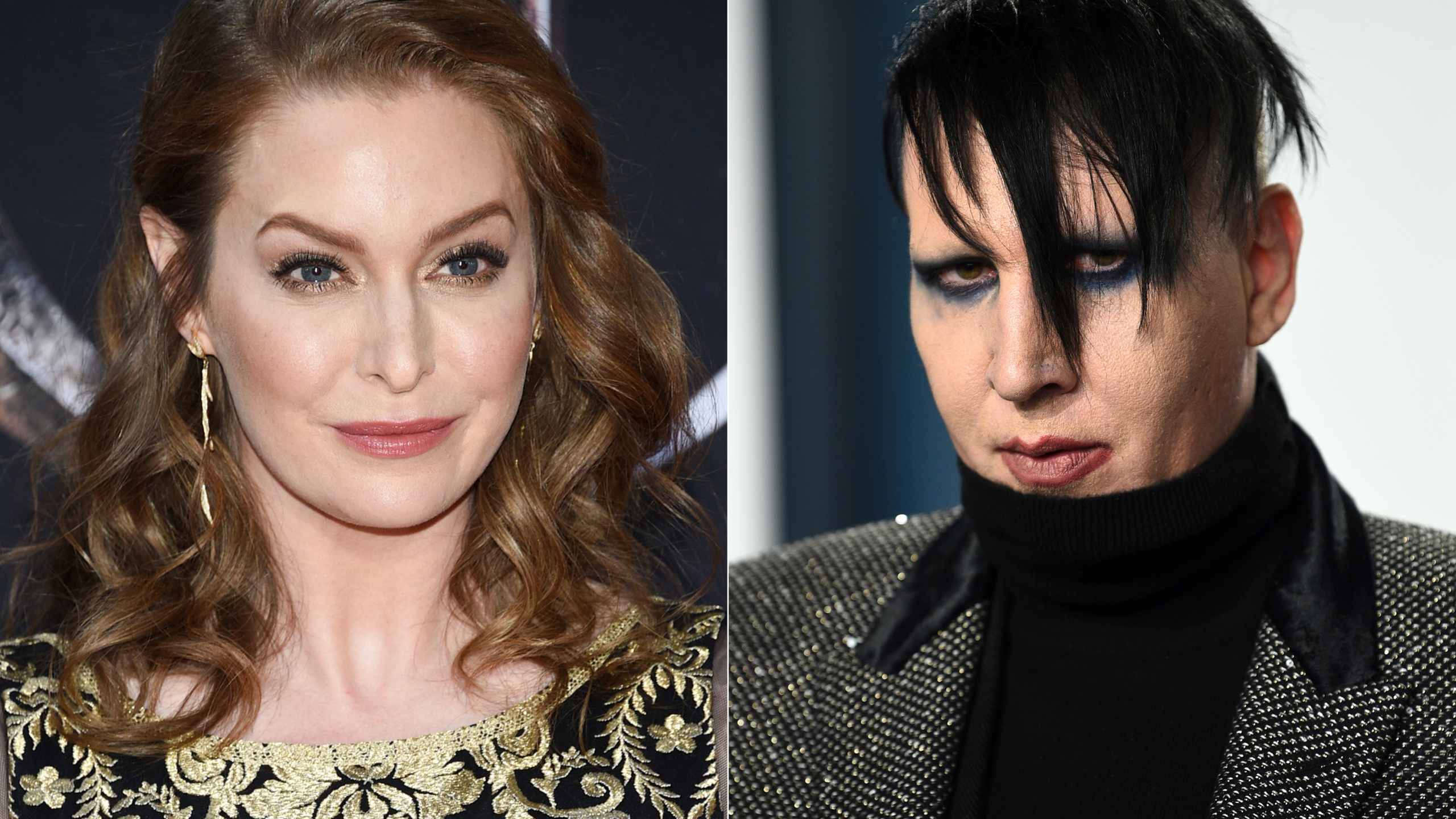 """In this combination photo, actress Esmé Bianco appears at HBO's """"Game of Thrones"""" final season premiere in New York on April 3, 2019, left, and musician Marilyn Manson appears at the Vanity Fair Oscar Party in Beverly Hills, Calif. on Feb. 9, 2020. (Photos by Evan Agostini/Invision/AP)"""