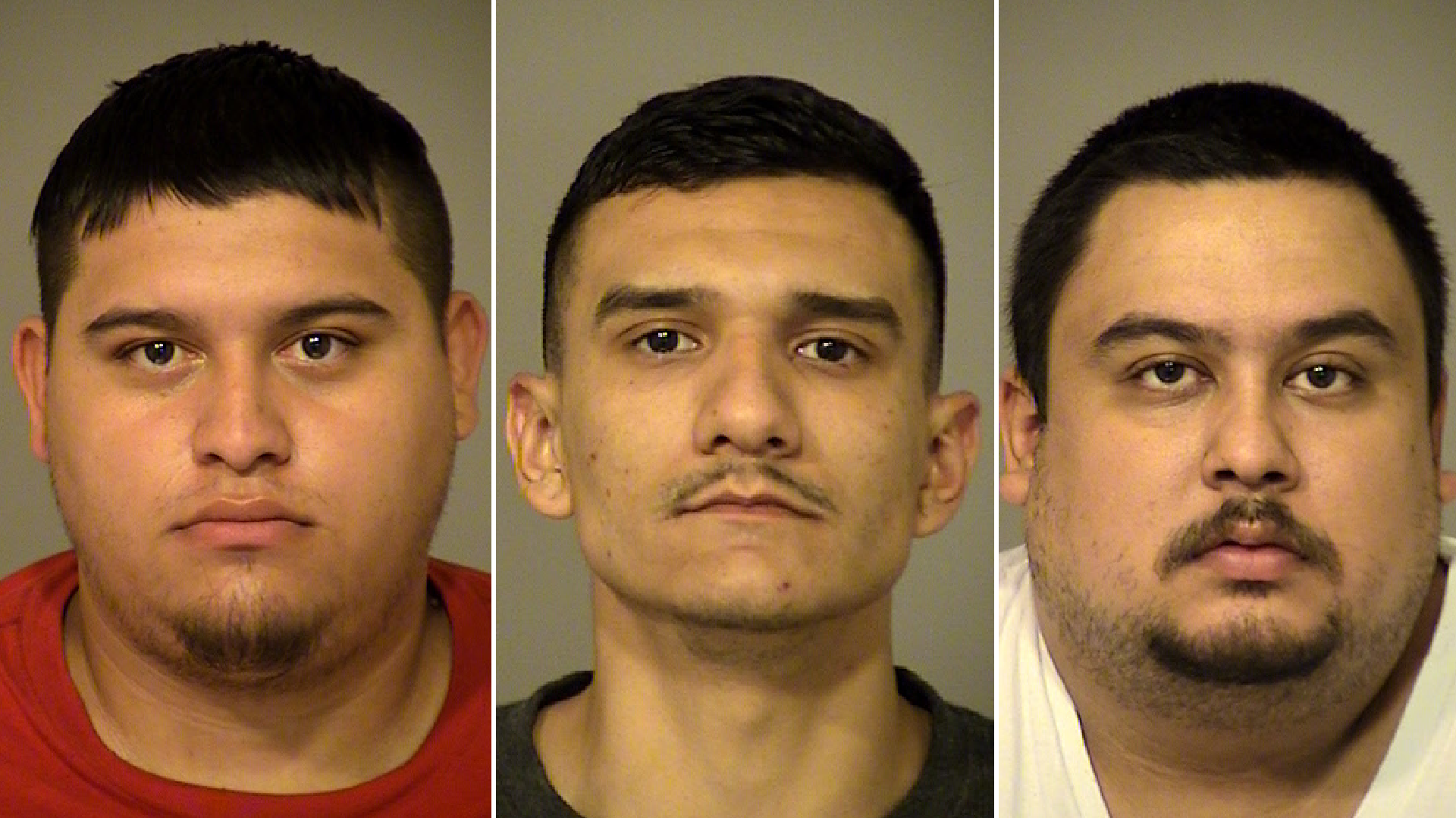 Larry Garcia, 21, Byron Lopez, 22, and Luis Bidriezca, 25, are seen in booking photos provided by the Ventura County Sheriff's Office.